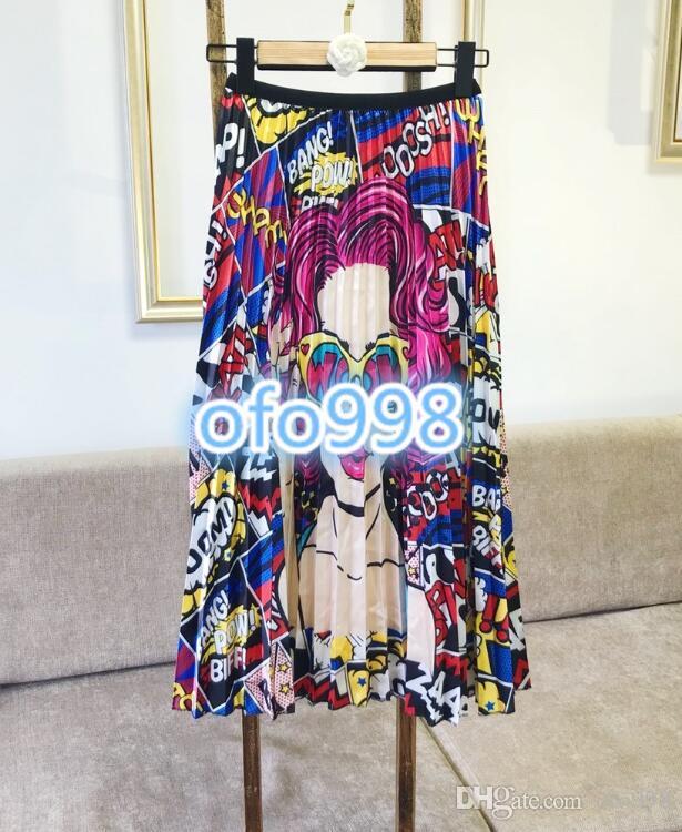 0cb42d276631 Mujeres niñas de gama alta Graffiti letras imprime color mezclando midi  vestido delgado vestido plisado Gran nombre Mismo párrafo seda casual moda  ...
