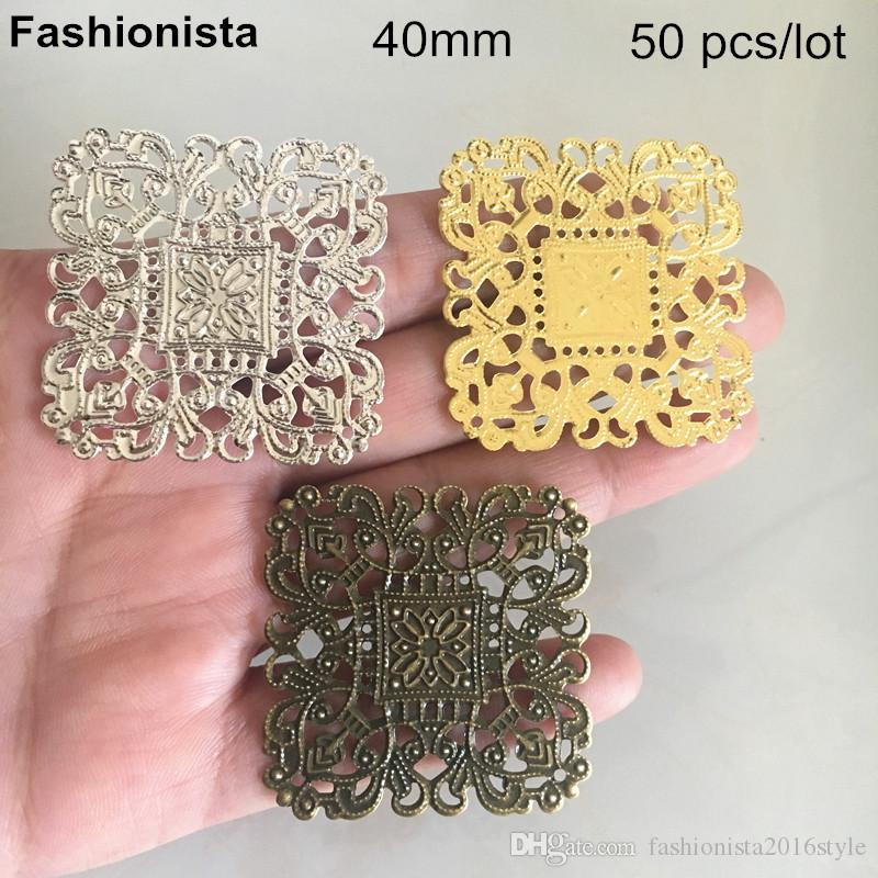 50 pcs Square Shape Metal Filigree Flowers 40mm,Gold-color,Silver-color,Bronze,Metal Stamping Flower Pattern Settings,Supplies