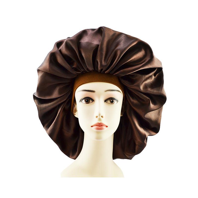 Mujeres Sombrero durmiendo Nightcap Sólido Color Seda Seda suave Brimmed Head Diadema Ducha Casquillo Satén Cabello largo Cuidado del cabello Bonnet Sombrero Accesorios 2020