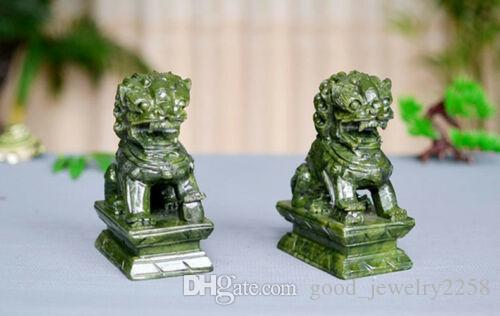 A Pair 100% Natural China Green Jade Carved Fengshui Foo Fu Dog Guard Door Lion statue Decoration