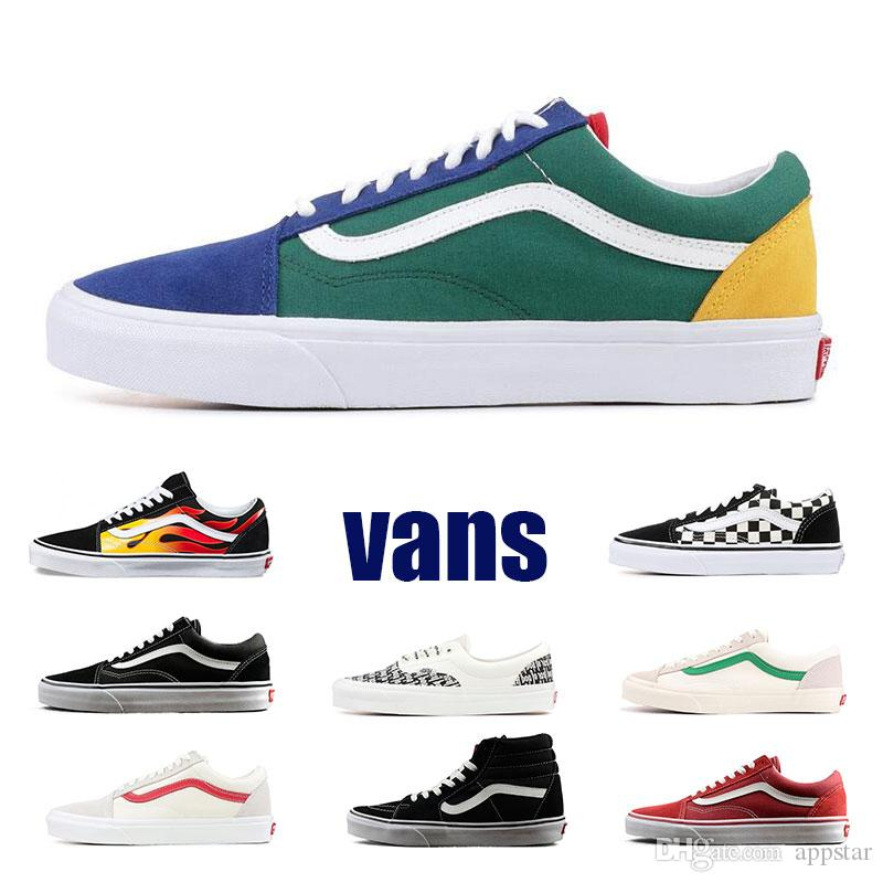 c987b8d664 2019 Original Vans Old Skool Sk8 Hi Mens Womens Canvas Sneakers Black White  Red YACHT CLUB MARSHMALLOW Fashion Skate Casual Shoes Size Eur 36 44 From  ...