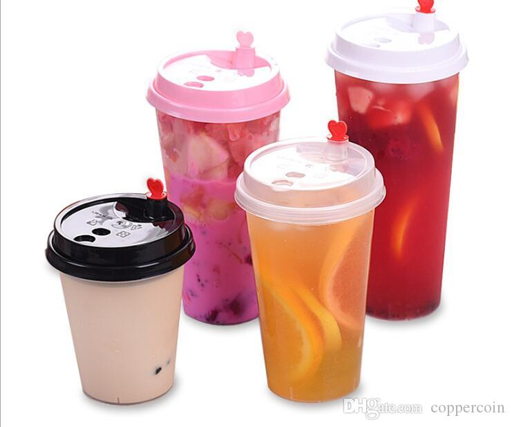 500 ml disposable dull polish PP plastic Cup Custom printed juice cup bubble tea milk tea with several types of lids for selection