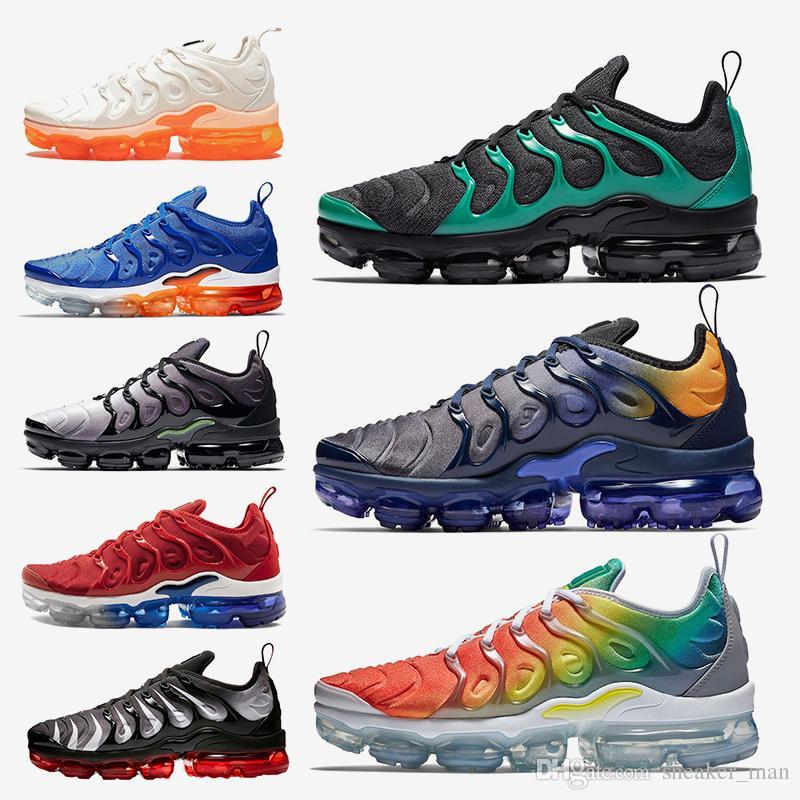 online store be9d8 3986b Acheter Nike Air Vapormax Plus 2019 Nouvelles Couleurs Chaussures De Course  TN Plus Fades Bleu Arc En Ciel Noir Vert Jeu Royal USA Hommes Baskets De  Marque ...