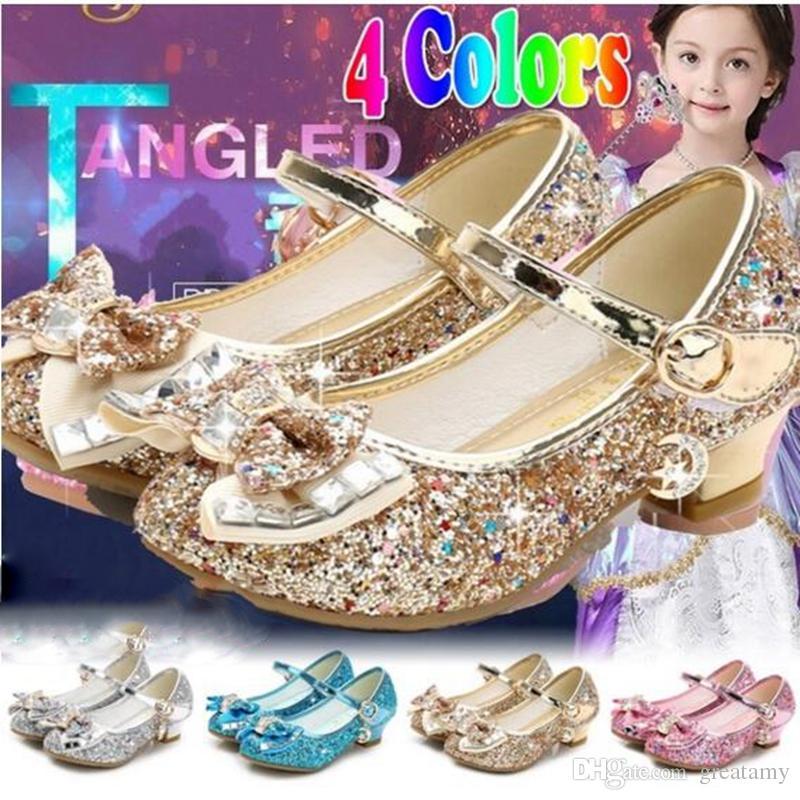Compre Moda Nuevos Zapatos De Princesa Niños Niñas Tacones Altos Zapatos De Vestir  Niños Bebé Lentejuelas Arco Niñas Sandalias A  16.76 Del Greatamy ... 74bc75230cca