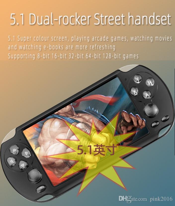 X9-S Handheld Game Player 5.1 pollici grande schermo portatile console di gioco MP4 Player con fotocamera TV Out TF Video per GBA FC gioco spedizione gratuita