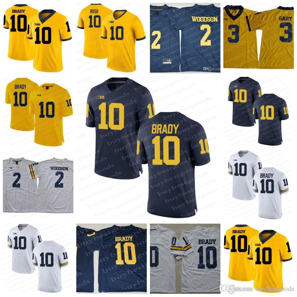 detailed look 81f32 e9ae7 NCAA Michigan Wolverines #10 Brady Jersey #2 Charles Woodson Navy Blue  White Yellow Stitched College Football Jerseys S-3XL Stitched