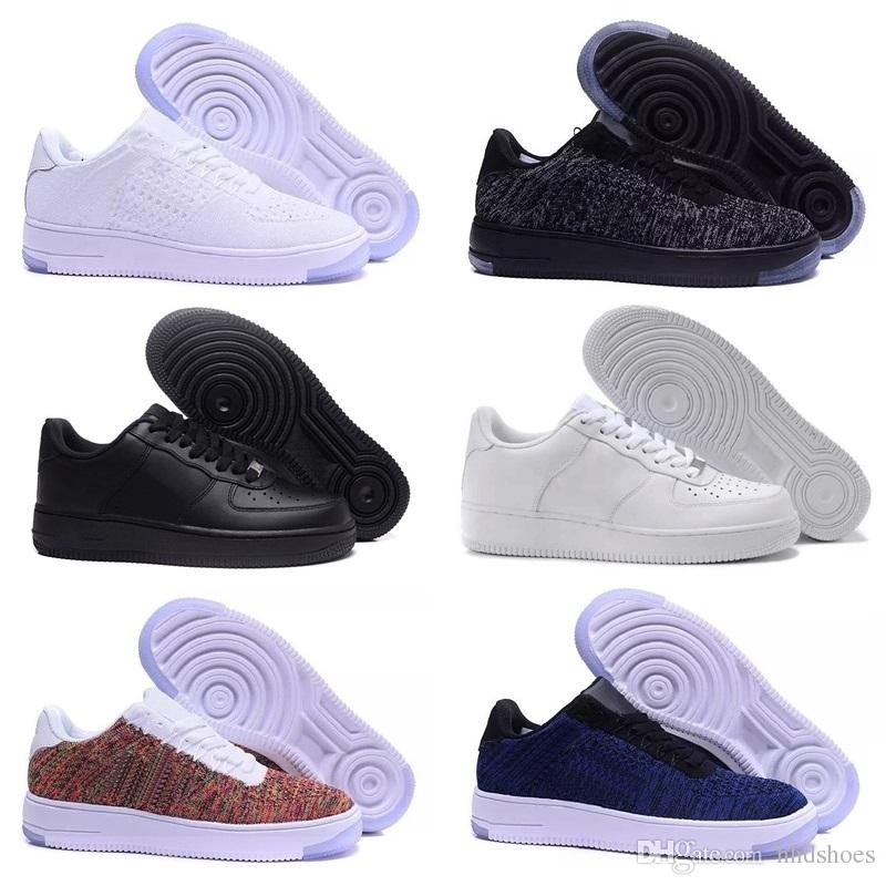 Nike air max force fly Verkauf 2019 New Design Forces Herren Low Skateboard Schuhe Günstige One Unisex 1 Knit Euro Air High Damen Alle Weiß Schwarz
