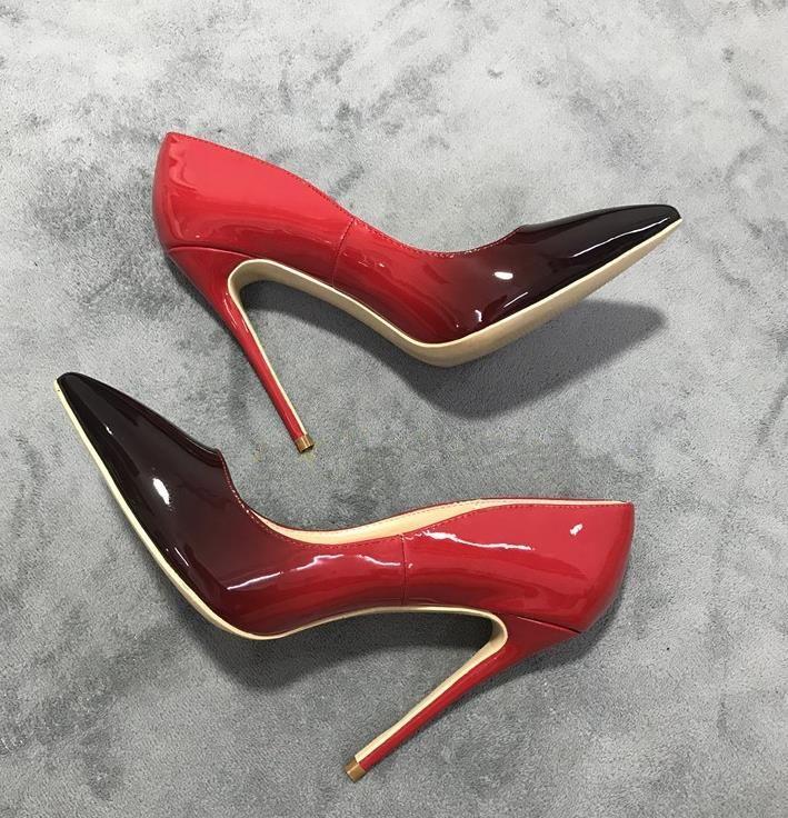 kutu gerçek deri ayakkabı taban yüksek topuklu 8 ile 10 cm 12cm Nü siyah, kırmızı, pembe deri Sivri Toes kırmızı ile kutusu Elbise ayakkabı pompaları
