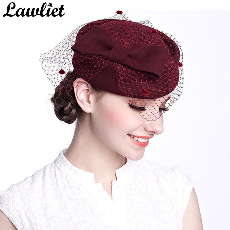 5c6ede6889b0a Winter Fedoras Pillbox Hats Vintage Style Wool Felt Women Fascinator Hat  With Bow Veil Wedding Hats Race Ascot Party Church Hats D19011102 Trilby  Stetson ...