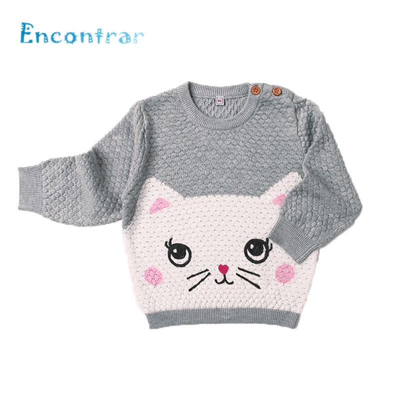 5e5e9d521da95d Encontrar Baby Cat Pattern Winter Knitted Clothes Boys Girls O Neck Pullovers  Sweaters Newborn Kids Cute Jumper 6M 24M