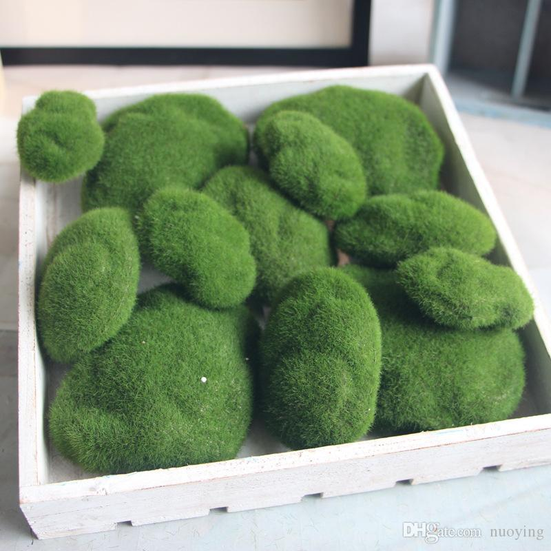 2019 Artificial Moss Ball Garden Decor Fake Plants Home Greenery DIY Simulation Green Stone Botany Wall Background From Nuoying 101
