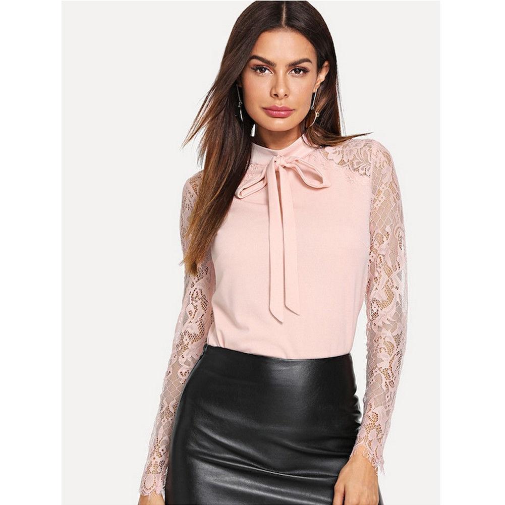 best website d3fe4 e5bb4 Camicetta nera a maniche lunghe in camicetta sottile con maniche lunghe in  pizzo da donna. Camicia elegante da donna