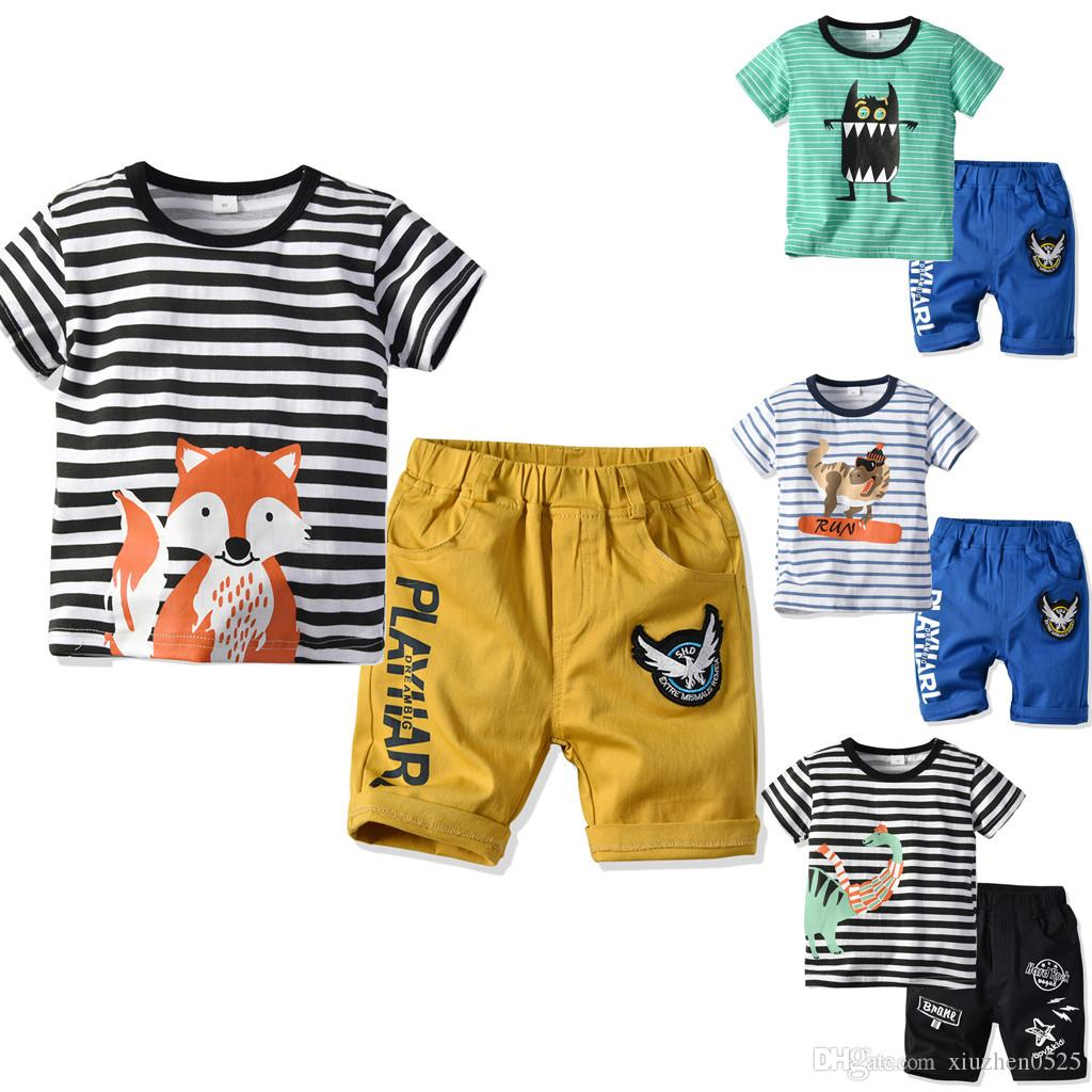 7912eb71de36 Little Boys' Short Set Summer Clothing Sets Cotton Shirts Short Sleeve Tee Pants  Toddler Boys The Little Monster Truck Tee and Shorts Set