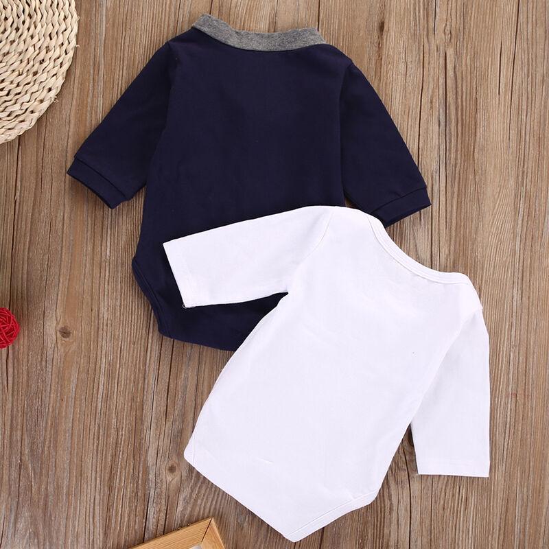 Nouveau-né Bébés garçons Vêtements col V Cardigans Sweat-shirt Manteau + Pure White Bow Bodysuit Jumpsuit Tenues
