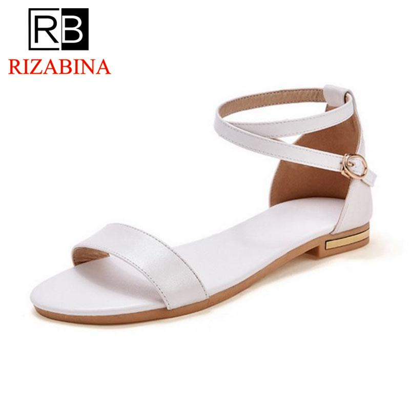 367d2ef2f RizaBina Women Real Leather Gladiator Sandals Lady Summer Shoes Female Flat Sandals  Rome Style Cross Tied Shoes Women Size 33 42 Jack Rogers Sandals White ...