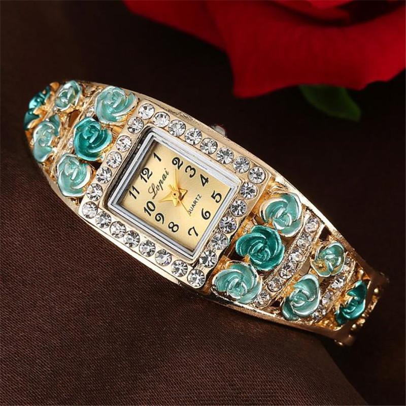 Reloj de mujer de alta calidad Rhinestone Hollow Casual reloj de pulsera Metal Steel Strip Quartz Ladies WristWatch Gift Clock Reloj #W