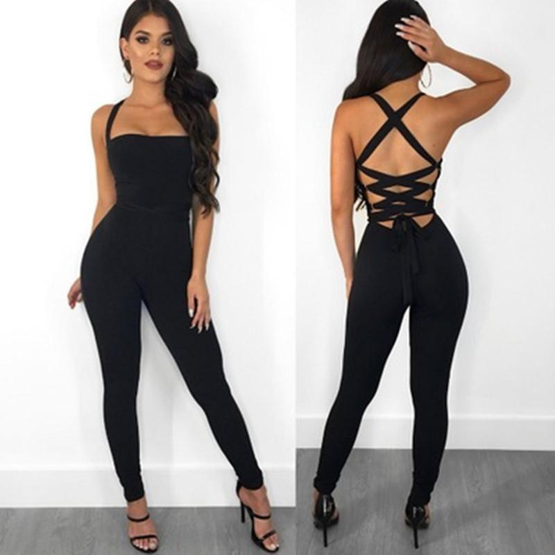 Sexy Bondage Women Jumpsuit Slim Skinny Solid Color Bodysuit Cross Hollow Out Lady Overall Bodysuit Y19071801