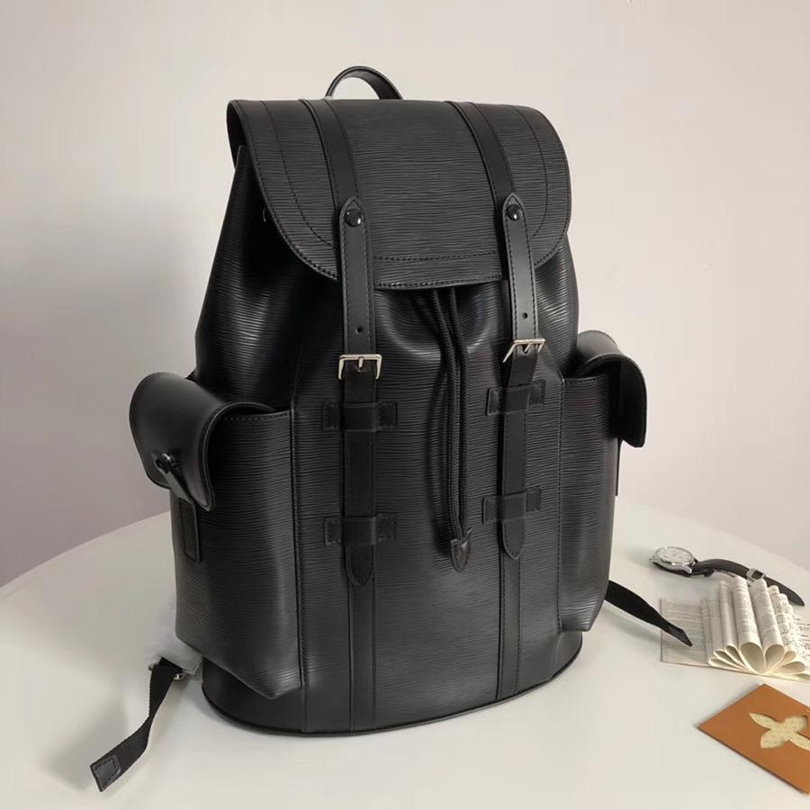 Designer bags Genuine leather luxury women men Designer water ripple backpack leather fashion travel bag computer bag s428