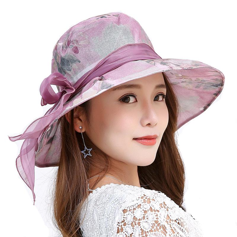 5bdabd6d 2018 New Summer Women Cloth Sun Hat Female Wide Brim Sunblock Beach Hat  Summer UV Protect Folding Travel Cap With Bow Knot C19011401 Trilby Hat Top  Hats ...