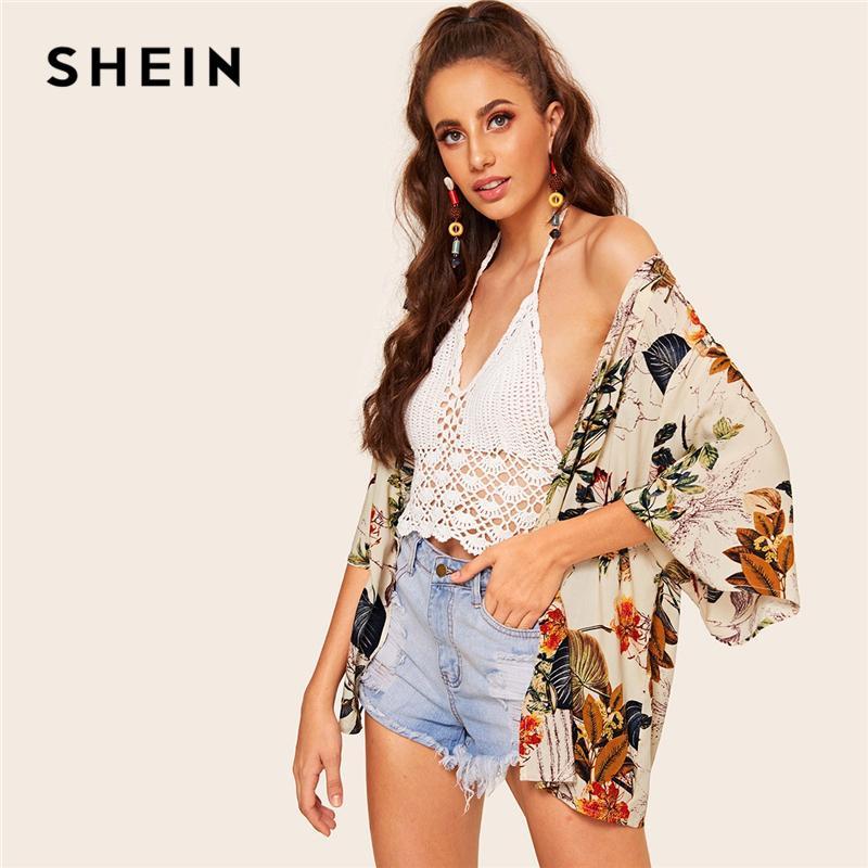 a8b795783fc Boho Multicolor Botanical Print Short Sleeve Kimono Cardigan Women Spring  Summer 2019 Vacation Casual Bohemian Kimonos C19041001