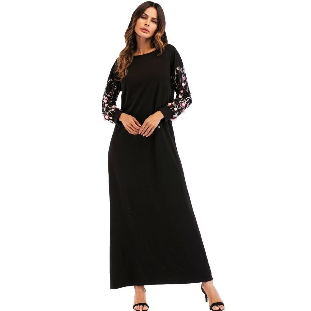 472852cd5 Compre Vestido Largo Causal Negro Dubai Árabe Musulmán Camiseta Vestidos  Breve Elegante Maxi Vestido Vintage Bordado Étnico De Manga Larga A  34.46  Del ...