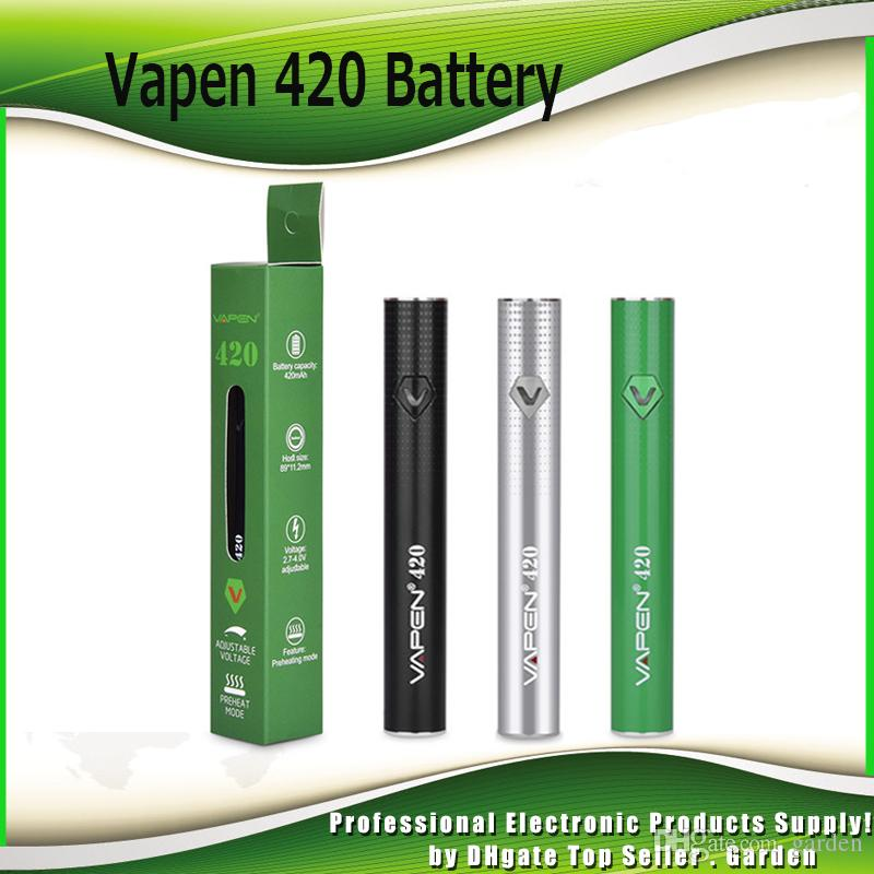 Authentic Vapen 420 Battery 420mAh Vape Box Mod Adjustable Voltage Preheat Bottom Micro USB For 510 Thick Oil Carts Cartridge Genuine