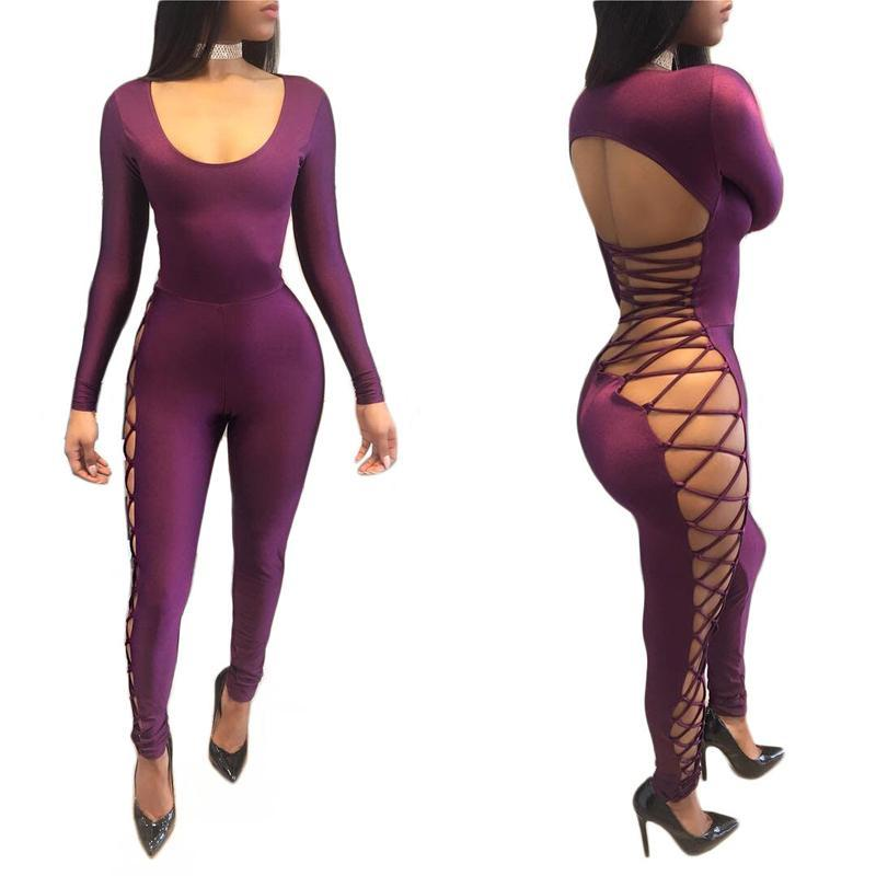 19a11c814ad Sexy Bandage Bodycon Jumpsuit Women Rompers Hollow Out Backless Party Club  Jumpsuit Long Sleeve Skinny Full Length Overalls Online with  38.74 Piece  on ...