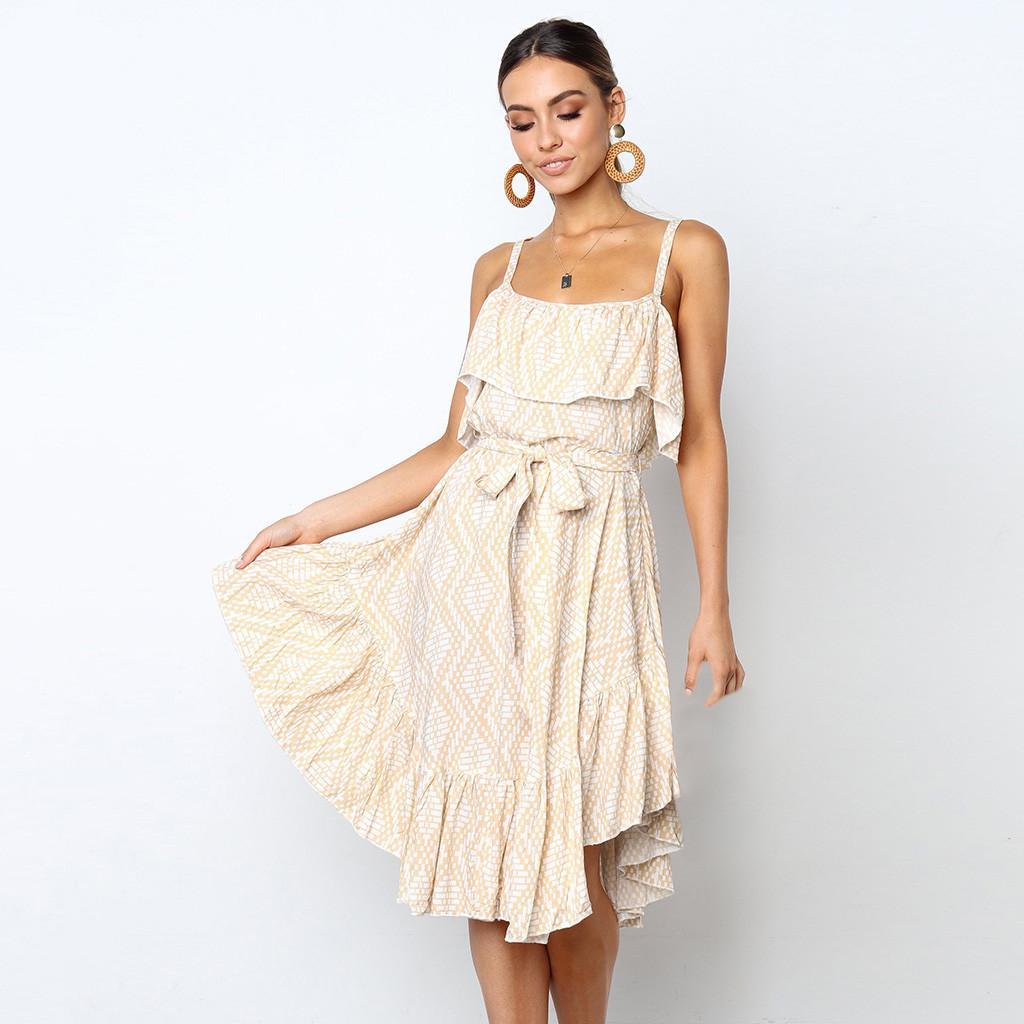 Strandkleider Elegante Sleeveless Beige Sommerkleider Schulterfrei Druck Gürtel Sexy Kleid Prinzessin Mit Frauen Rüschen iwOTlZkXuP
