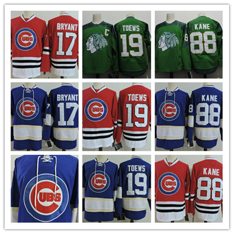 buy online 09420 5cc33 Mens Chicago Blackhawks Jonathan Toews Green St. Patricks Day Jersey 17  Kris Bryant 88 Patrick Kane Chicago Black hawks Hockey Jersey S-3XL
