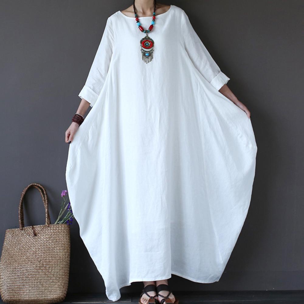 4XL 5XL Cotton Linen Summer Dress Plus Size Boho Loose White Long Maxi  Dresses Women Female 3/4 Batwing Sleeve Robe Dress Y19012102