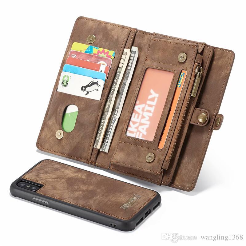 eebf710edc8 Fundas Para Smartphone Funda Desmontable Magnética De Lujo De La Cartera  Del Cuero Del Vintage Para El IPhone X XS Max XR Funda De Cuero  Multifuncional De ...