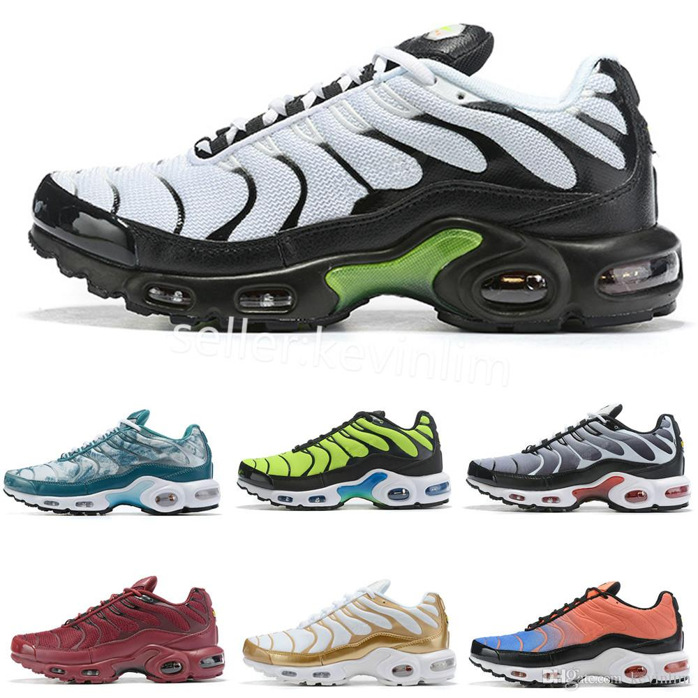 nike TN plus air max airmax Hot 2019 Air Plus Shoes Barato Hombres Tn Plus Zapatos para correr Nuevo diseño Negro Blanco Chaussures Tn QS Rojo