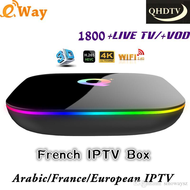 4G 32G Q PLUS TV Box Android8 1 Arabic French IPTV Smart TV Box QHDTV 1  Year Europe IPTV Code 1300 Live TV VOD
