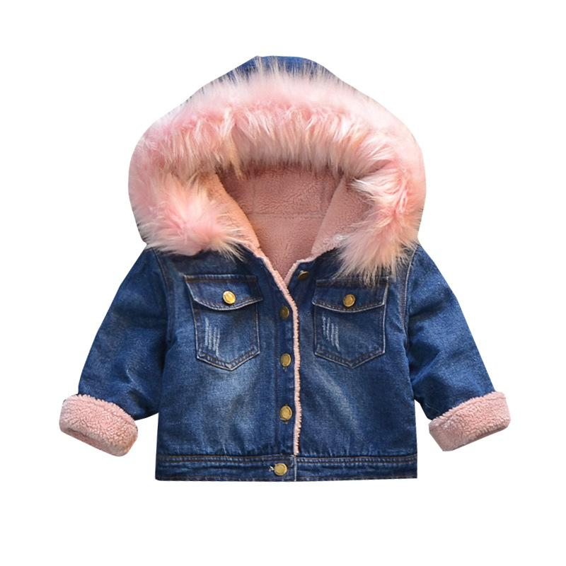 49bdebd76 New Jeans Jacket Girls Kids Denim Fur Hooded Winter Spring Autumn ...