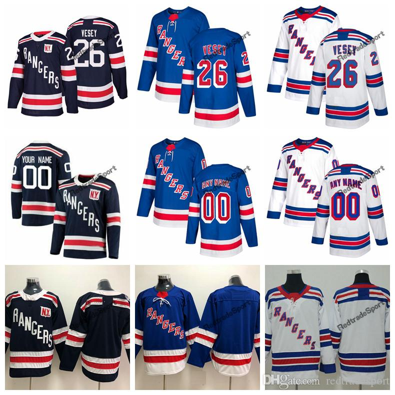 on sale e051b 393f4 2018 Winter Classic New York Rangers Jimmy Vesey Hockey Jerseys Mens Custom  Name Home Blue #26 Jimmy Vesey Stitched Hockey Shirts S-XXXL