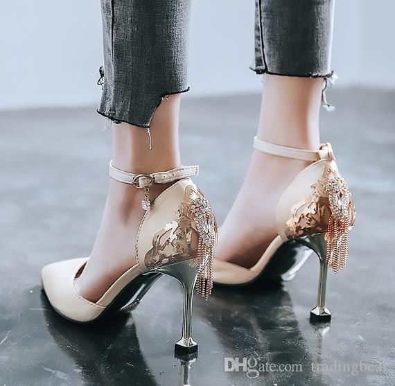 sexy women designer pumps gorgeous red gold rhinestone tassels satin ankle strap pumps bridal wedding shoes size 31 32 to 42 tradingbear