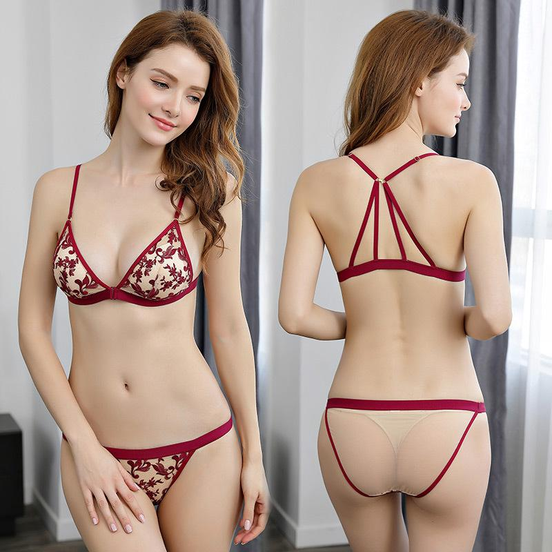 4effbd057ac 2019 The New Ultra Thin Sexy Triangle Cup Transparent Women Bra And Panty  Set 3 4 Cup Y Line Strap Floral Front Closure Back Lace From Yuhuicuo