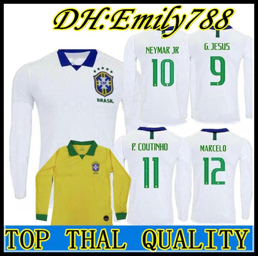 new product 9abe9 0fb19 Brazil 2019 long sleeve soccer jersey Copa America Home away white 19 20  COUTINHO MARCELO PAULINHO camiseta de futbol football shirt
