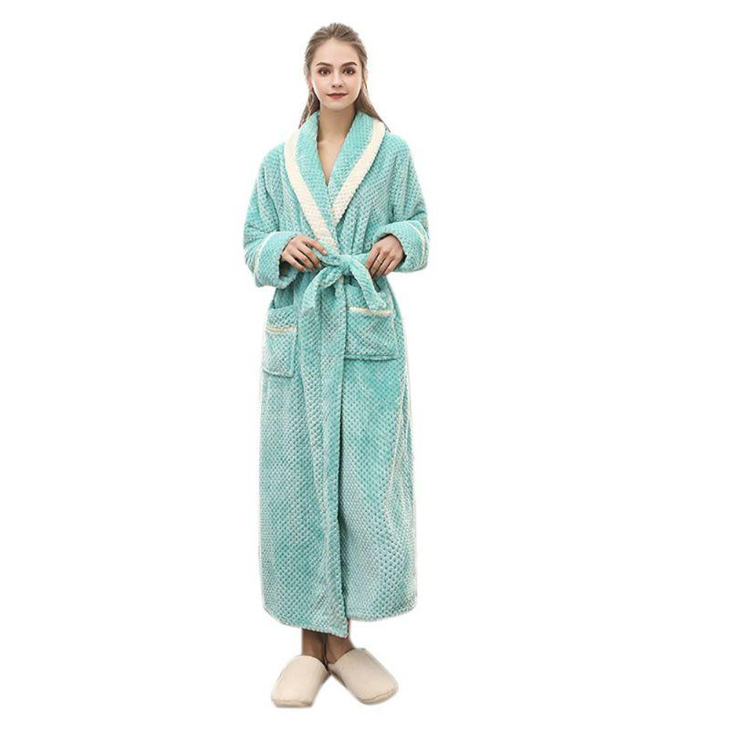 2019 Women Long Thick Flannel Robe Solid Color Robe Long Lace Up Bathrobe  Pocket Robes Plus Size From Beimu eb0f815091