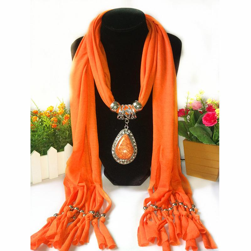 2018 Women Jewelry Tassels Scarf Necklace Resin Pendant Neckerchief Scarves For Women Polyester Cotton Scarf Female Echarpe