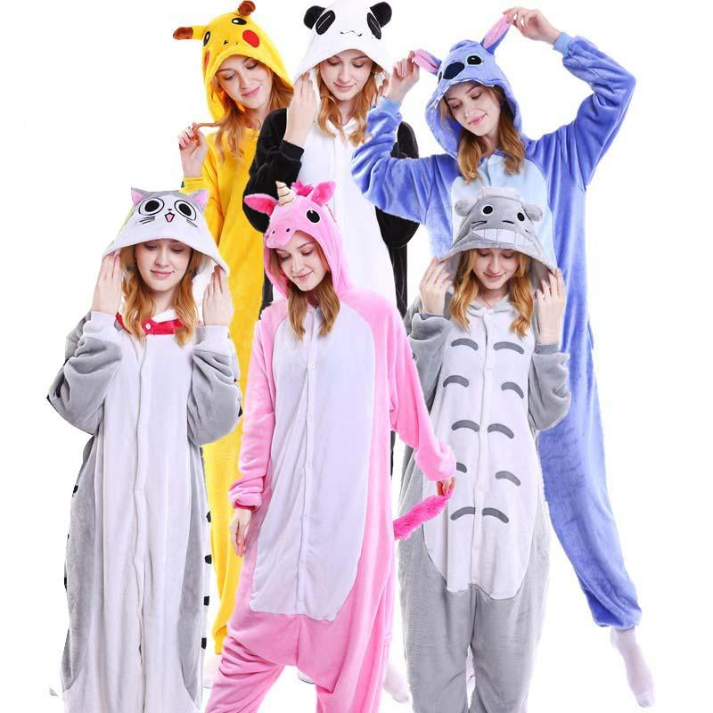 2019 Kawaii Flannel Pijama Kigurumi For Women Onesie Adult Totoro Sleepwear  Couple Pyjamas Halloween Party Jumpsuit From Home5 9a987faea