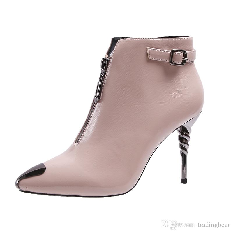 Fashion patent PU leather shoes small buckle metal toe mid zip pointed toe designer ankle boots women shoes high heels size 34 to 39
