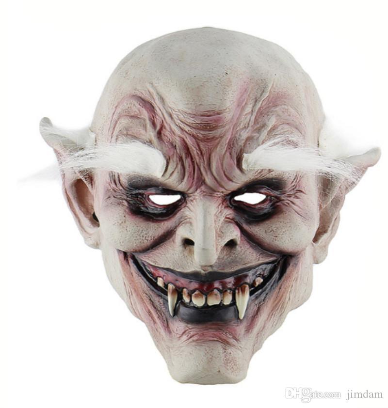 Halloween Horror Devil Mask Vampire Latex Hood White