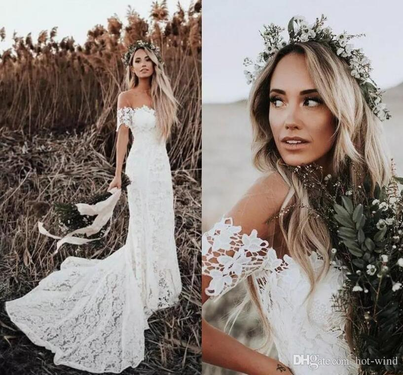 4d3608fbcccc Elegant Boho Lace Wedding Dresses 2019 Country Style Off The Shoulder Short  Sleeves Mermaid Wedding Bridal Gowns Summer Beach Gowns Big Wedding Dresses  ...