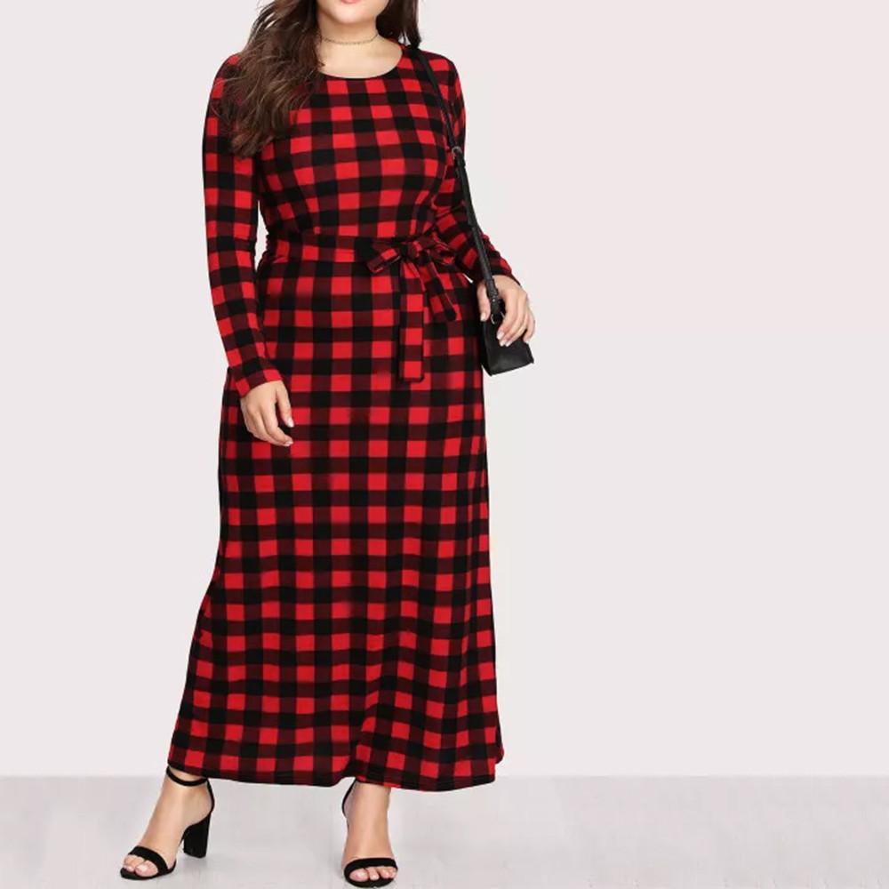 Plaid Ankle Length Dress