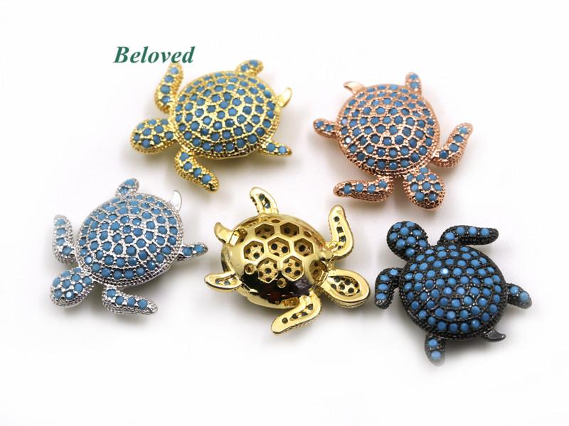 Lovely Sea Turtle Micro Pave CZ Turquoises Brass Spacer Charms ... e21396ff82e7
