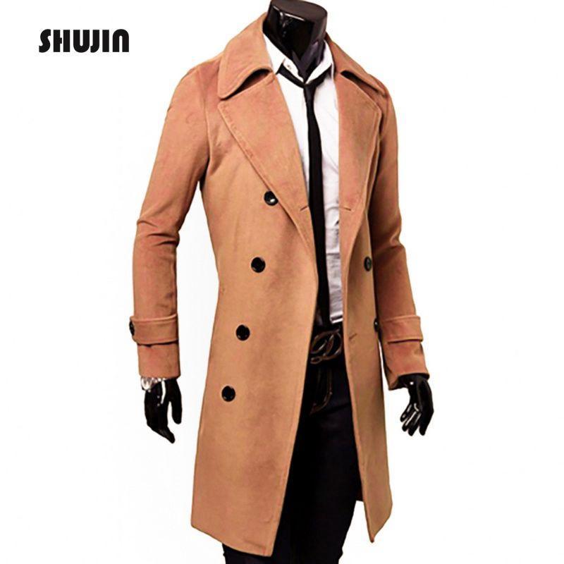 Compre SHUJIN Turn Down Collar Dos Homens Magros Casacos De Inverno Jaqueta  Com Botões Homem Longo Casaco Trench Coat Casuais Casaco Masculino De  Baiqian deb7dc0a5ec
