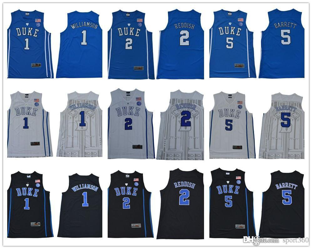 2db15dec3fc8 2019 2018 NCAA Duke Blue Devils 1 Zion Williamson 5 RJ Barrett 2 Cam Reddish  White Blue Black College Basketball Jerseys From Sport360