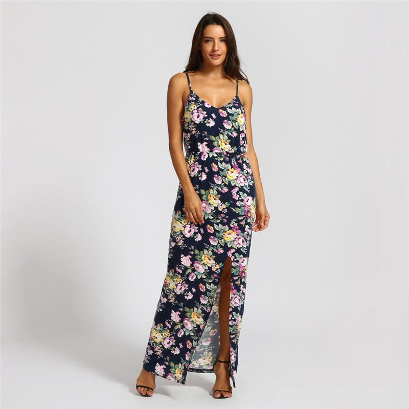 Acquista 2019 Nuovi Vestiti Moda 2019 New Fashion Womens Summer Print Dress  Halter Vestito Casual Slit Caviglia Dress Lunghezza A  31.63 Dal Lixlon05  ... eb28d9f820c