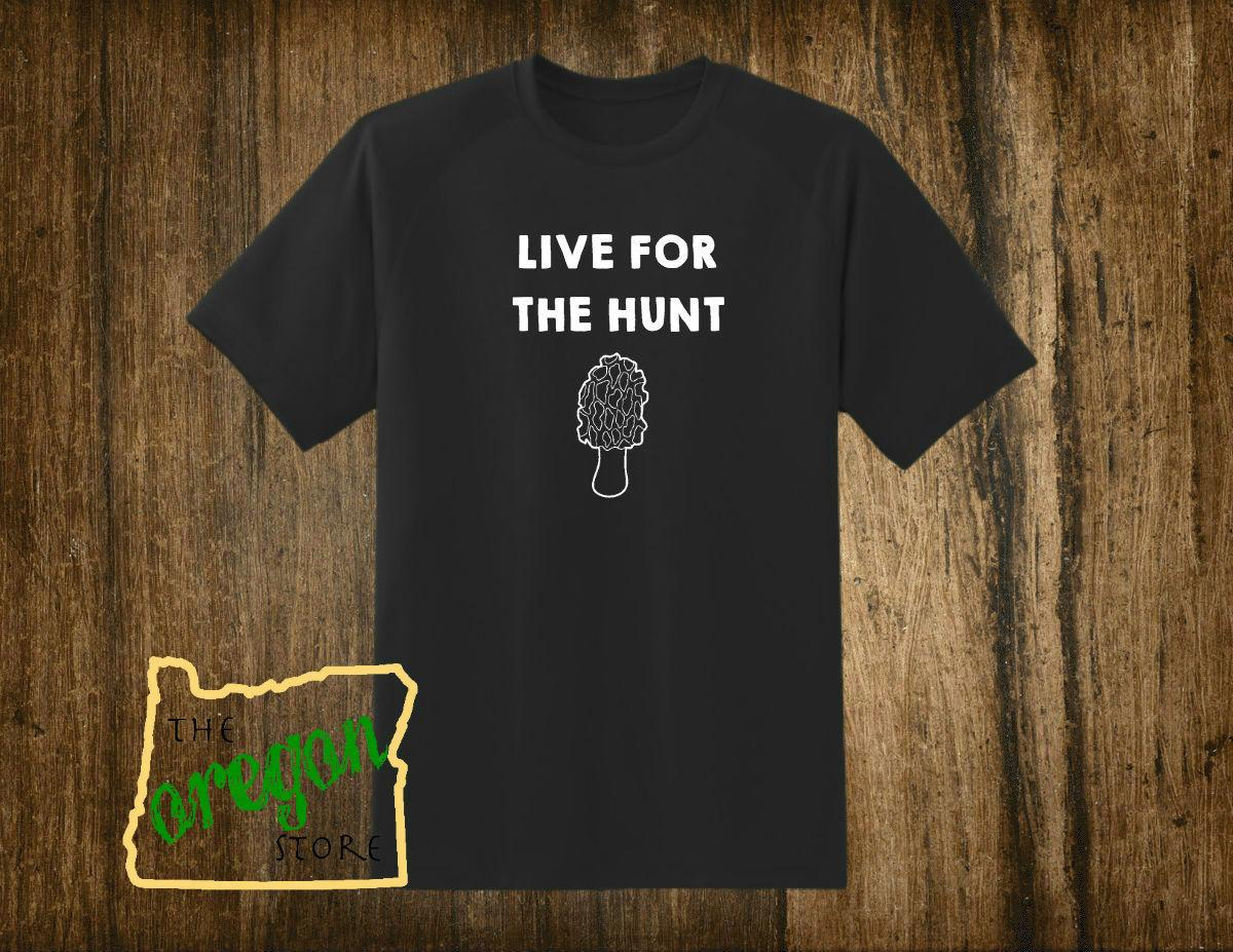 c5dd3e913 Live For The Hunt Morel Mushroom Black Men's T-shirt, Tee Shirt 2018 New Tee  Print Men T-Shirt Tops Hip Hop Short T Shirt